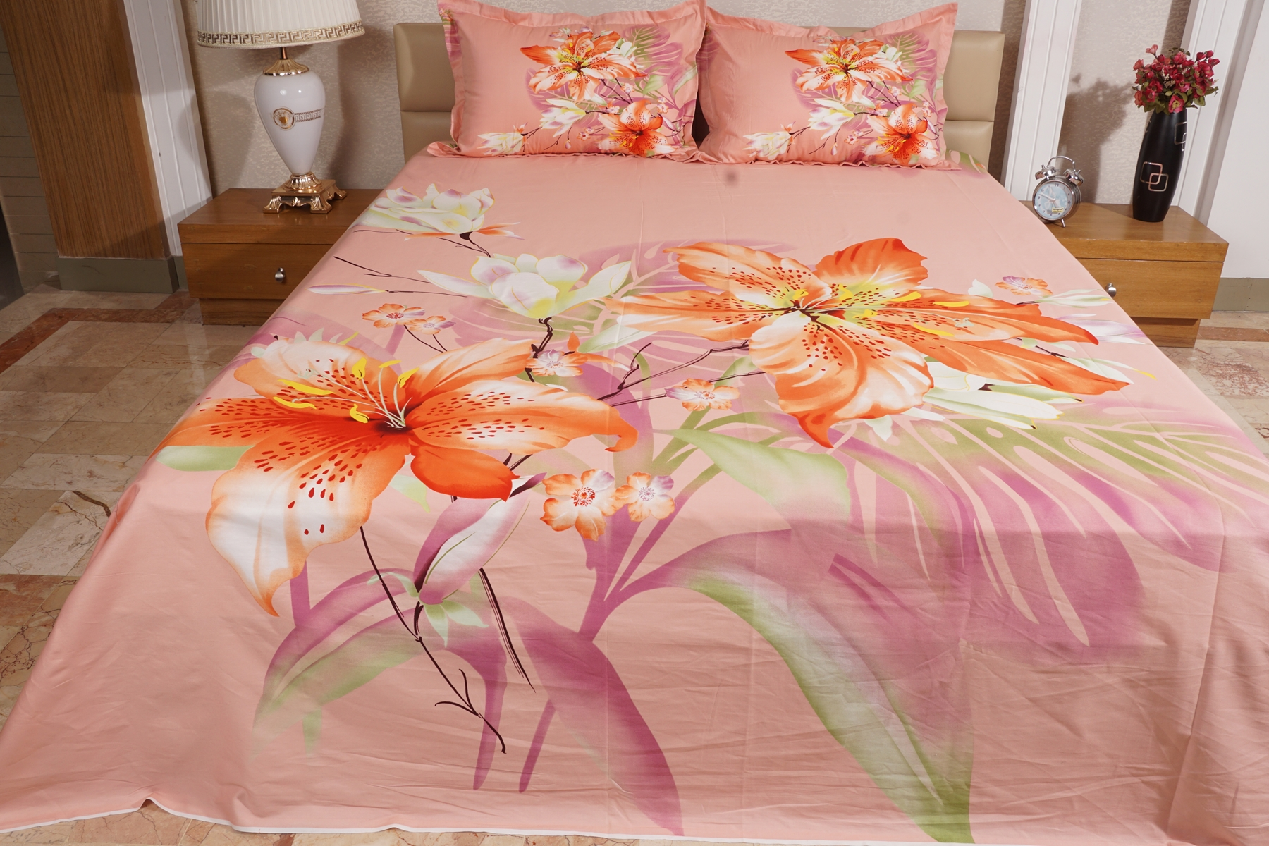 Reactive Twill Panel Double Bed Sheet  1684  409
